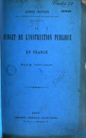 Le budget de l'instruction publique en France pour 1879 - 1880