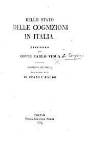 Dello Stato delle cognizioni in Italia, discorso del Conte C. V. Edizione seconda, con alcune note di C. Balbo