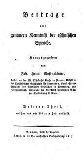 Beiträge zur genauern Kenntniss der esthnischen Sprache: Band 3