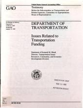 Department of Transportation: issues related to transportation funding