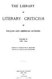 The Library of Literary Criticism of English and American Authors: Volume 4