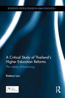 A Critical Study of Thailand   s Higher Education Reforms PDF