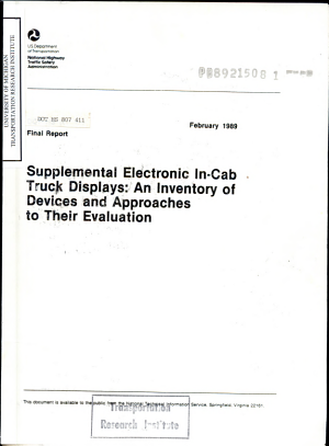 Supplemental Electronic In cab Truck Displays  an Inventory of Devices and Approaches to Their Evaluation  Final Report PDF