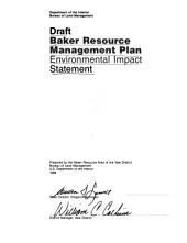 Baker resource management plan: environmental impact statement : draft