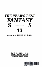 THE YEAR BEST FANTSY STORIES PDF