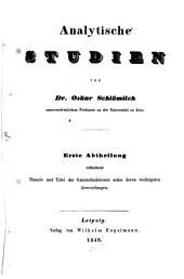 Analytische Studien: Band 1