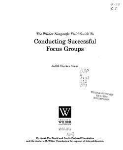 The Wilder Nonprofit Field Guide to Conducting Successful Focus Groups PDF