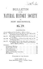Bulletin of the Natural History Society of New Brunswick: Volume 4
