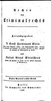 Archiv des Criminalrechts: Band 1