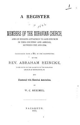 A Register of Members of the Moravian Church PDF