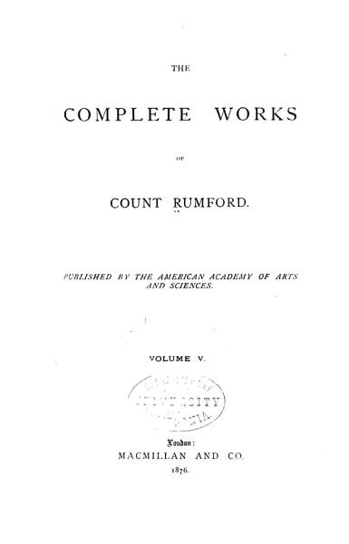 Download The Complete Works of Count Rumford Book