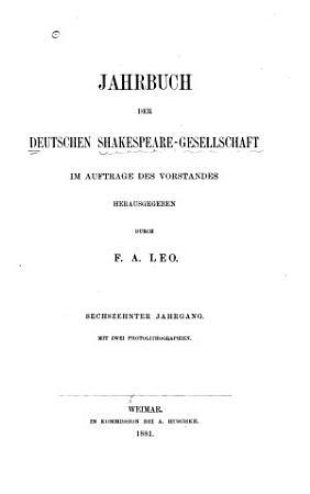 Jahrbuch der Deutschen Shakespeare Gesellschaft PDF