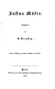 Justus M  ser  Geschildert von F  K  Mit einer Abbildung von M  ser s Denkmal in Osnabr  ck PDF