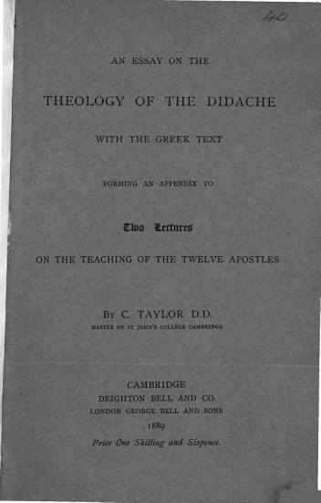An Essay of the Theology of the Didache PDF