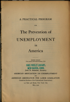 A Practical Program for the Prevention of Unemployment in America PDF