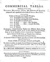 Commercial Tables, exhibiting a view of the weights, measures, coins and monies of France, compared and equalized with those of Great Britain. ... To which is added, an ample extract from the commercial treaty concluded with France the 26th of September 1786, in the French and English languages. By a British Merchant, formerly resident in France.-Tables à l'usage des Négoçians, etc