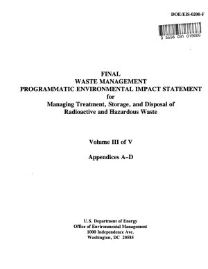 Waste Management Programmatic EIS for Managing Treatment  Storage  and Disposal of Radioactive and Hazardous Waste for Five Types of Waste  Low level Radioactive  Low level Mixed  Transuranic Radioactive  High level Radioactive and Hazardous Waste