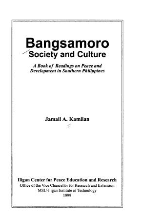 Bangsamoro Society and Culture PDF
