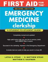 First Aid for the Emergency Medicine Clerkship PDF