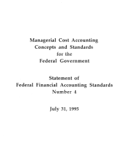Managerial Cost Accounting Concepts   Standards for the Federal Government PDF