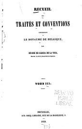 Recueil des traités et conventions concernant le royaume de Belgique: Volume3