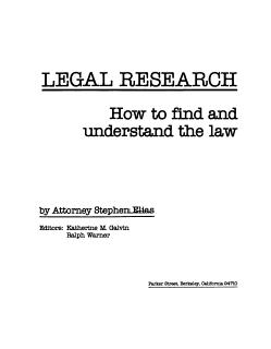 Legal Research Book