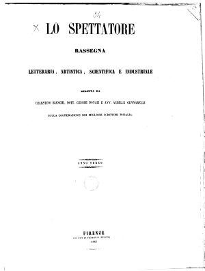 Lo    spettatore rassegna letteraria  artistica  scientifica ed industriale PDF