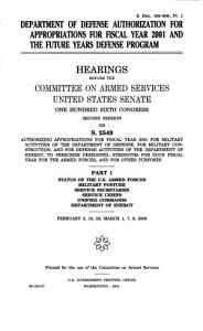 Department of Defense Authorization for Appropriations for Fiscal Year 2001 and the Future Years Defense Program PDF