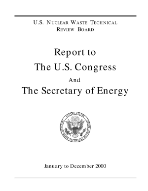 U.S. Nuclear Waste Technical Review Board Report to the U.S. Congress and the Secretary of Energy: January to December 2000