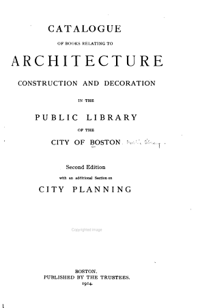 Catalogue of Books Relating to Architecture PDF