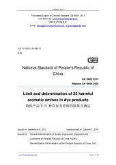 GB 19601-2013: Translated English of Chinese Standard. GB19601-2013.: Limit and determination of 23 harmful aromatic amines in dye products.