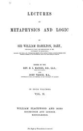 Lectures on Metaphysics and Logic: Volume 2