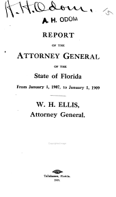 Report of the Attorney General of the State of Florida
