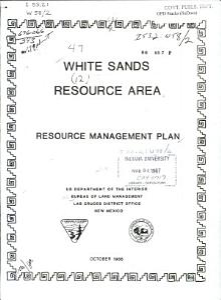 White Sands Resource Area Book