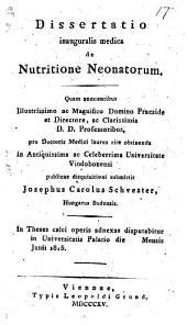 De Nutritione neonatorum. Diss. inaug. med