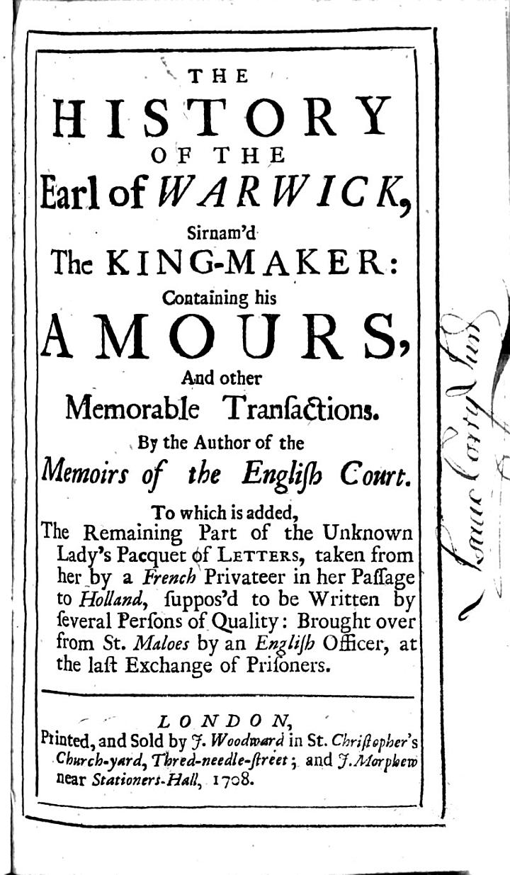 The History of the Earl of Warwick