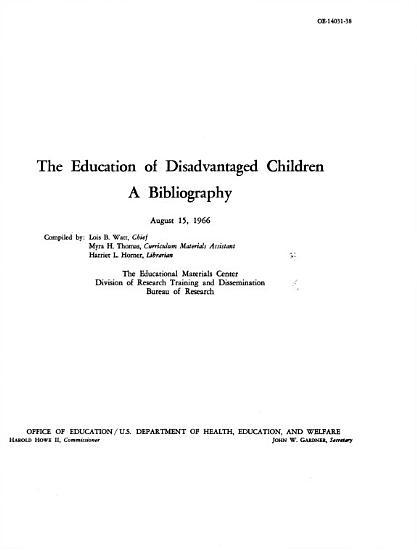 The Education of Disadvantaged Children PDF