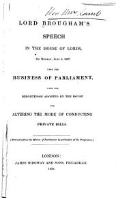 Lord Brougham's speeches in 1837 & 1838