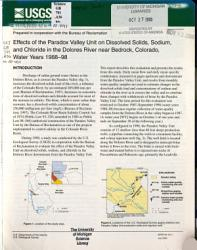 Effects Of The Paradox Valley Unit On Dissolved Solids Sodium And Chloride In The Dolores River Near Bedrock Colorado Water Years 1988 98 Book PDF