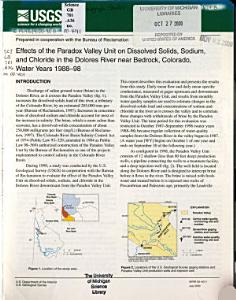 Effects of the Paradox Valley Unit on Dissolved Solids  Sodium  and Chloride in the Dolores River Near Bedrock  Colorado  Water Years 1988 98 Book