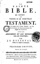 La Sainte Bible avec des réflexions par J.F. Ostervald
