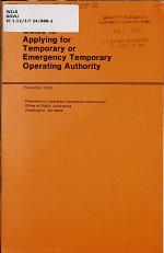 Guide to Applying for Temporary Or Emergency Temporary Operating Authority