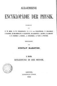 Allgemeine Encyklop  die der Physik  herausg  von G  Karsten PDF