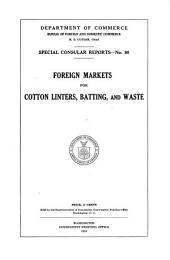 Foreign Markets for Cotton Linters, Batting, and Waste