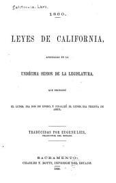 Leyes de California, aprobadas en la undécima sesión de la Legislatura: Que principió el lunes, día dos de enero, y finalizó el lunes, día treinta de abril