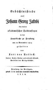 Gedächtnißrede auf Joh. Georg Jacobi