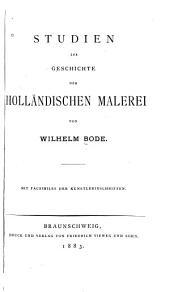 Studien zur Geschichte der holländischen Malerei