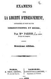 Examens sur la liberté d'enseignement, considérée au point de vue constitutionnel et social
