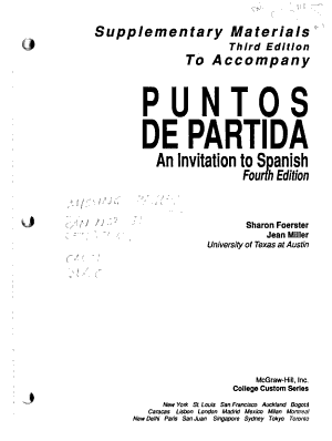 Supplementary Materials to Accompany Puntos de Partida an Invitation to Spanish  Fourth Edition PDF