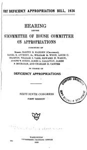 First Deficiency Appropriation Bill  1926 PDF